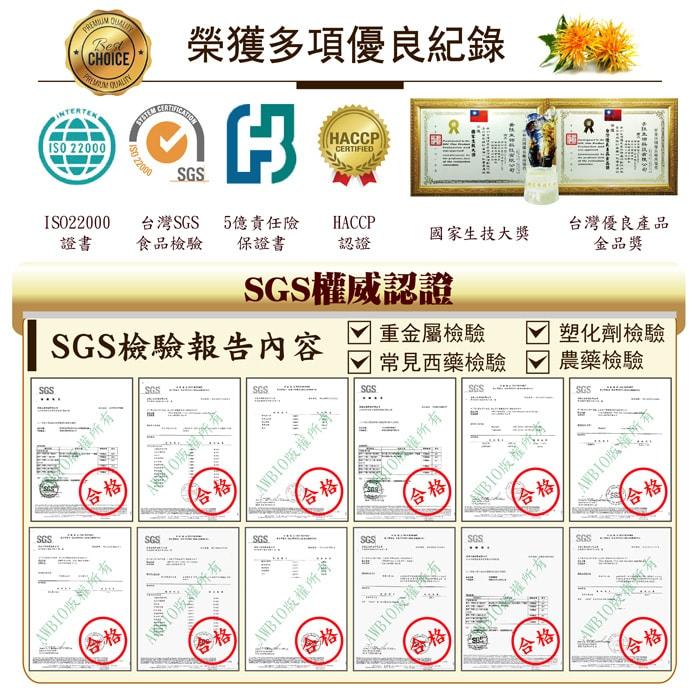 【美陸生技AWBIO】 紅花籽油榮獲多項優良紀錄:ISO22000、台灣SGS食品檢驗、5億責任險保證書、HACCP認證、國家生技大獎、台灣優良產品金品獎。SGS權威認證SGS檢驗報告:重金屬檢驗、塑化劑檢驗、常見西藥檢驗、農藥檢驗,檢驗合格。