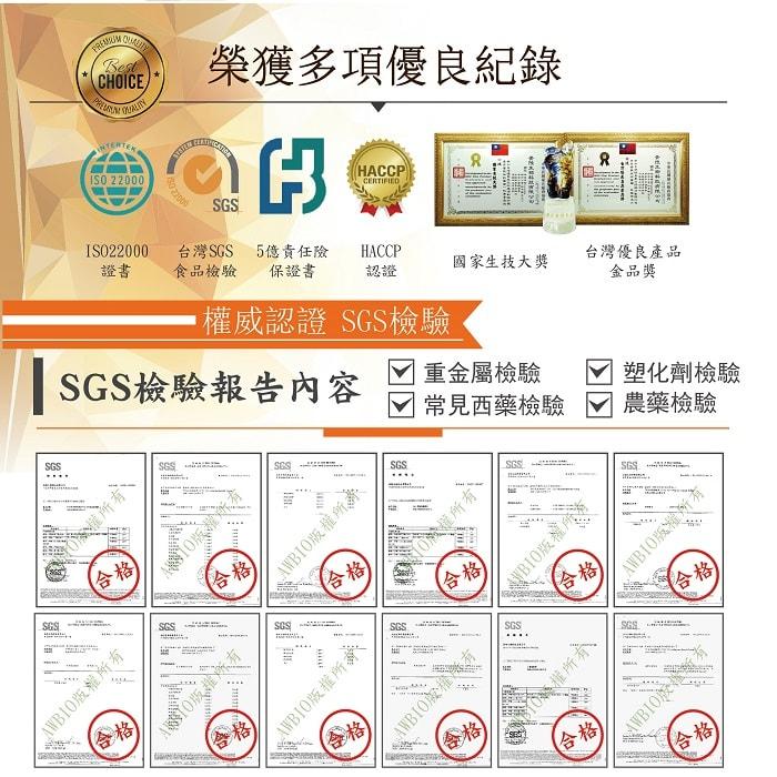 【美陸生技AWBIO】複方8合1葉黃素榮獲多項優良紀錄:ISO22000、台灣SGS食品檢驗、5億責任險保證書、HACCP認證、國家生技大獎、台灣優良產品金品獎。SGS權威認證SGS檢驗報告:重金屬檢驗、塑化劑檢驗、常見西藥檢驗、農藥檢驗,檢驗合格。