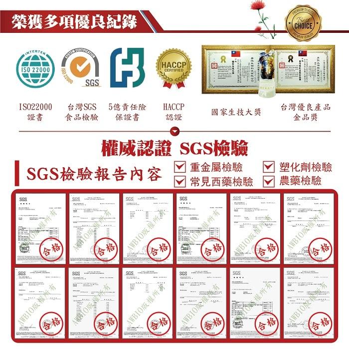 【美陸生技AWBIO】紅景天榮獲多項優良紀錄:ISO22000、台灣SGS食品檢驗、5億責任險保證書、HACCP認證、國家生技大獎、台灣優良產品金品獎。SGS權威認證SGS檢驗報告:重金屬檢驗、塑化劑檢驗、常見西藥檢驗、農藥檢驗,檢驗合格。