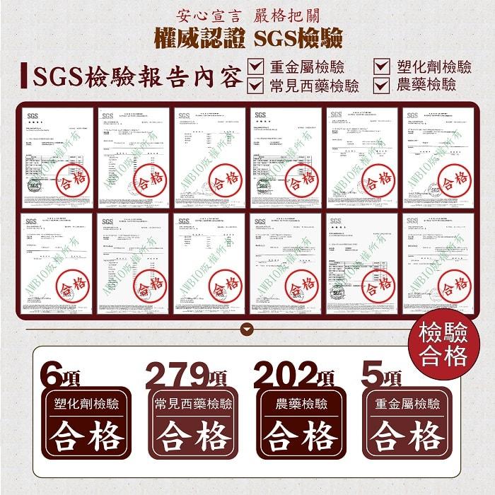 【美陸生技AWBIO】薑黃素權威認證SGS檢驗報告:安心宣言嚴格把關:6項塑化劑檢驗合格、279項常見西藥檢驗合格、202項農藥檢驗合格、5項重金屬檢驗合格。